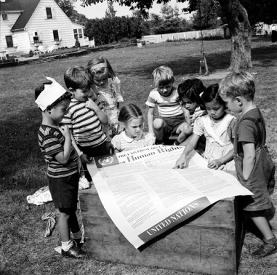 Soon after its creation, the Universal Declaration of Human Rights became one of the most influential and one of the most commented documents in the world. Photo: United Nations, 1950.